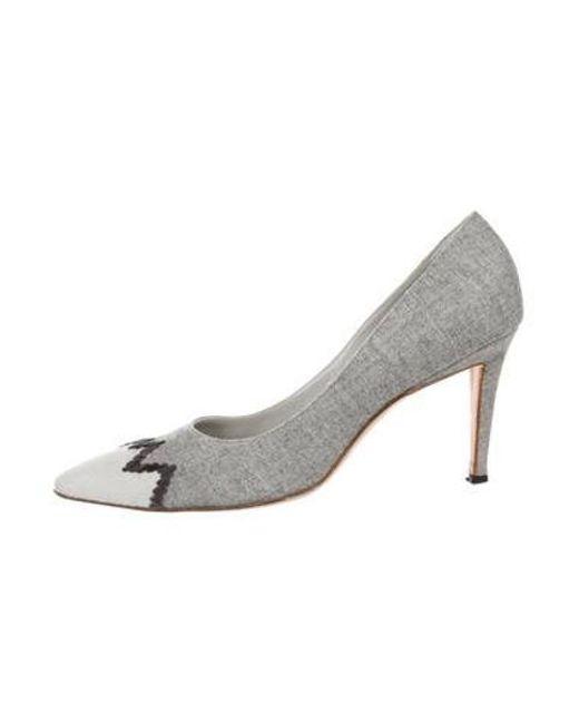 76d54b3f6e Manolo Blahnik - Gray Wool Pointed-toe Pumps Grey - Lyst ...
