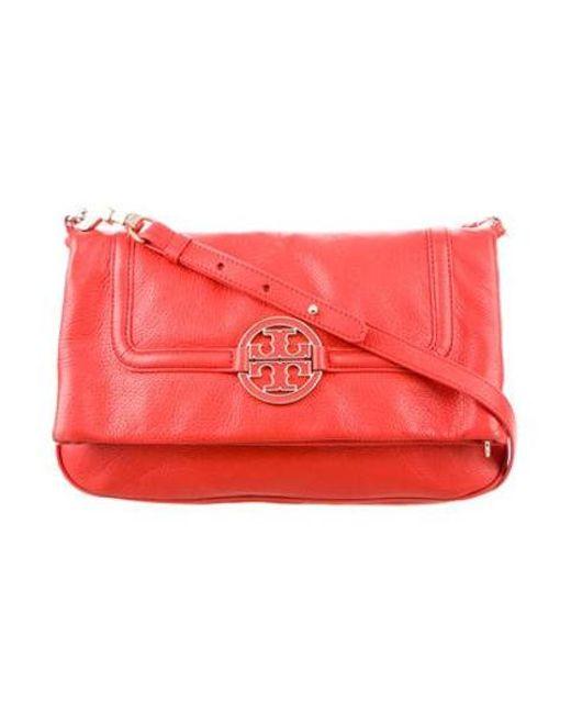 149f0d707a4b Tory Burch - Metallic Logo Leather Flap Bag Gold - Lyst ...