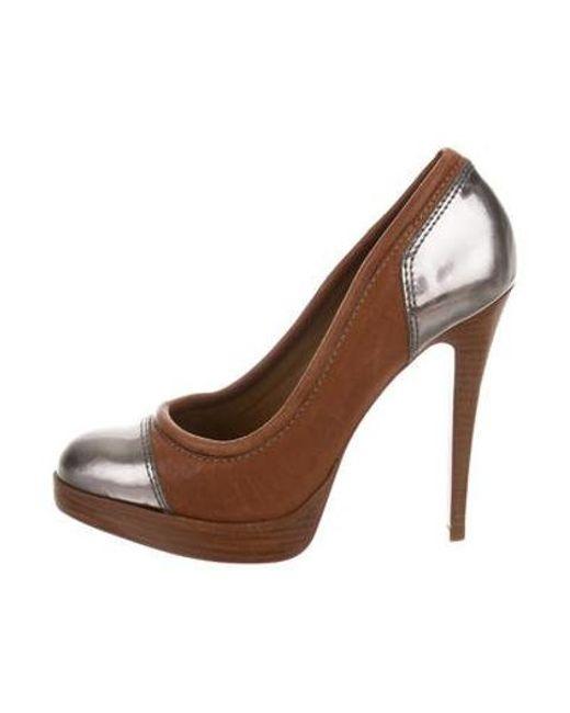 086e87d3c393e Tory Burch - Metallic Leather Cap-toe Pumps Tan - Lyst ...