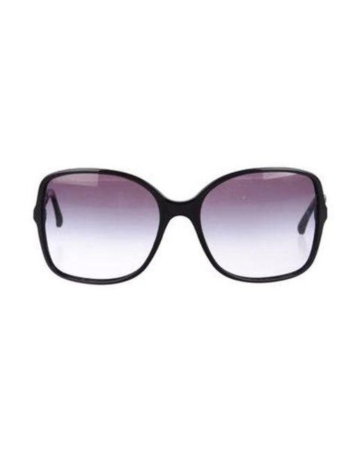 c0ec58aa03 Chanel - Metallic Chain-link Square Sunglasses Black - Lyst ...