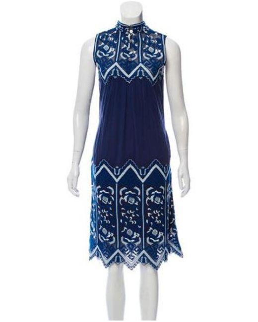 75afe5e377 Sea - Blue Embroidered Midi Dress - Lyst ...