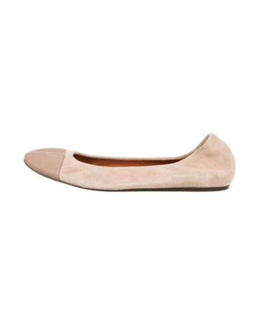 176a7191c98 Lanvin - Natural Suede Cap-toe Ballet Flats Beige - Lyst ...