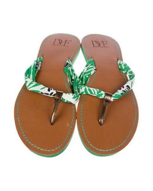 98990b243a9de ... Diane von Furstenberg - Green Printed Thong Sandals - Lyst ...