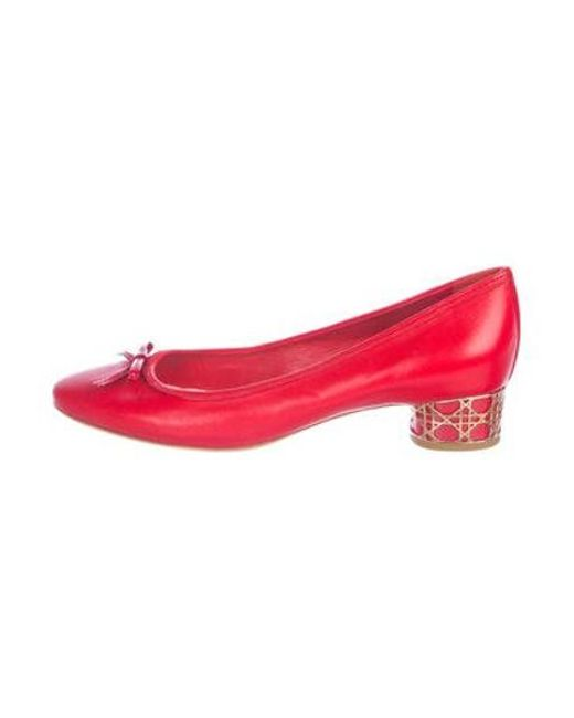 1abf2ae6c4c Dior - Red Leather Round-toe Pumps - Lyst ...