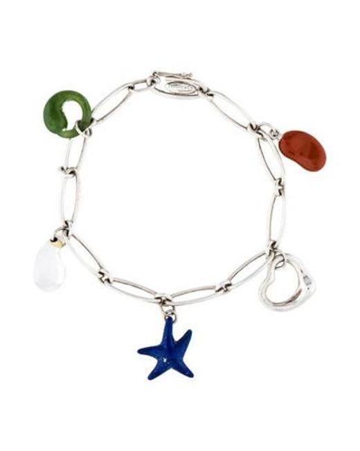 Tiffany & Co - Metallic Multistone Five-charm Bracelet Silver - Lyst