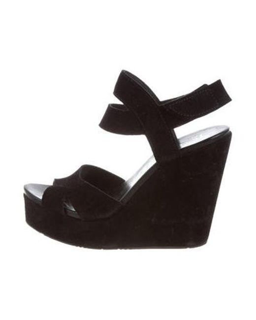 a1da7f2a438 Pedro Garcia - Black Suede Wedge Sandals - Lyst ...
