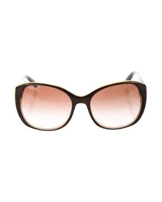 5461f4d9c Tory Burch - Metallic Gradient Round Sunglasses Black - Lyst ...