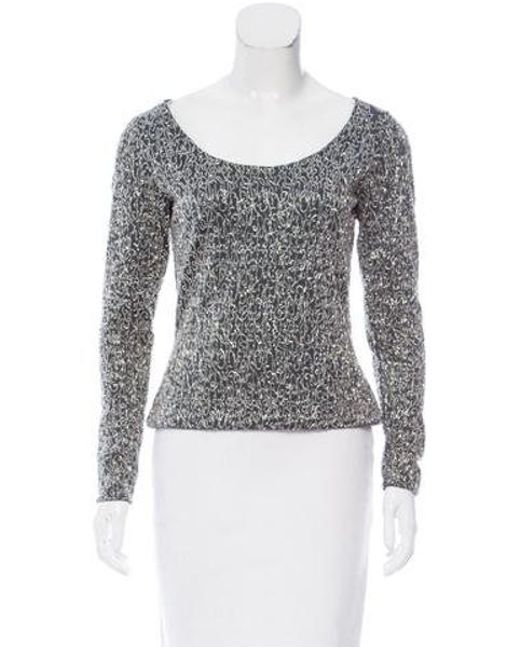 Naeem Khan - Gray Embellished Long Sleeve Top - Lyst