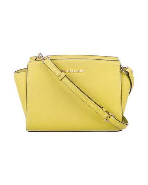 bd4b90cc2507 MICHAEL Michael Kors - Metallic Michael Kors Small Leather Crossbody Bag  Chartreuse - Lyst ...