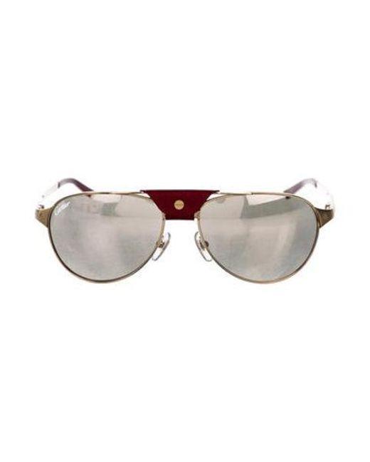 0abe6514f6 Cartier - Metallic Santos De Sunglasses Champagne - Lyst ...