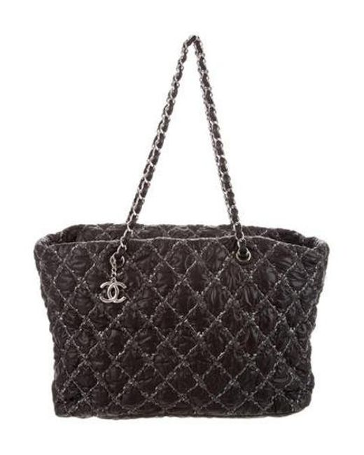 2a48edbc3cfb Chanel - Metallic Paris-byzance Nylon Tweed On Stitch Tote Black - Lyst ...