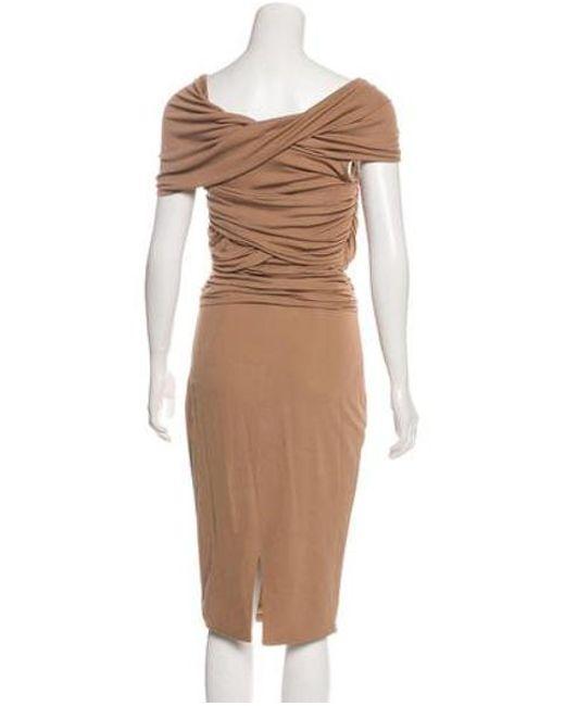 eef57aa4ed ... Giambattista Valli - Brown Silk Jersey Midi Dress - Lyst