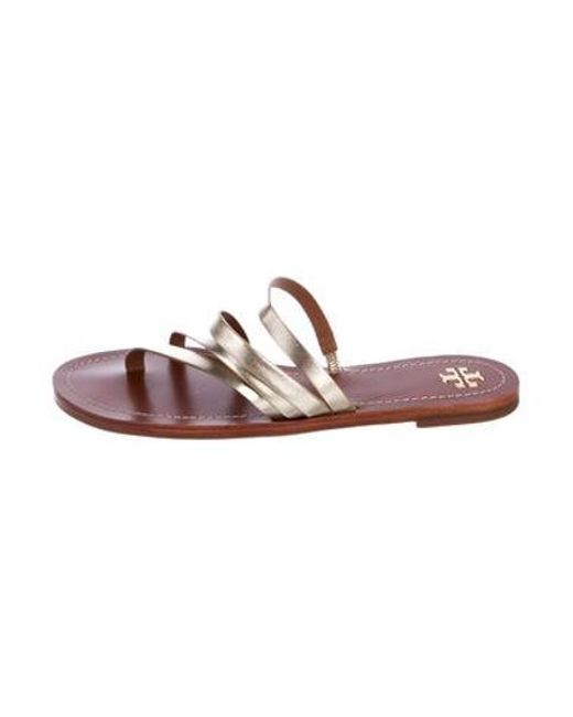 a8b28ad2034ef Tory Burch - Metallic Leather Sandals - Lyst ...