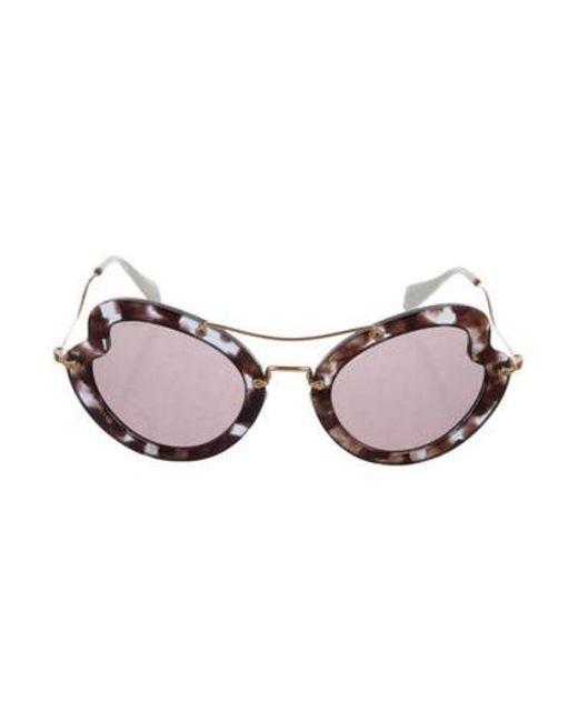 1be16bf13 Lyst - Miu Miu Miu Butterfly Tinted Sunglasses Brown in Metallic ...