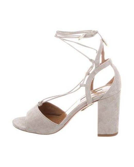 db64fe89956 Aquazzura - Gray Suede Lace-up Sandals Grey - Lyst ...