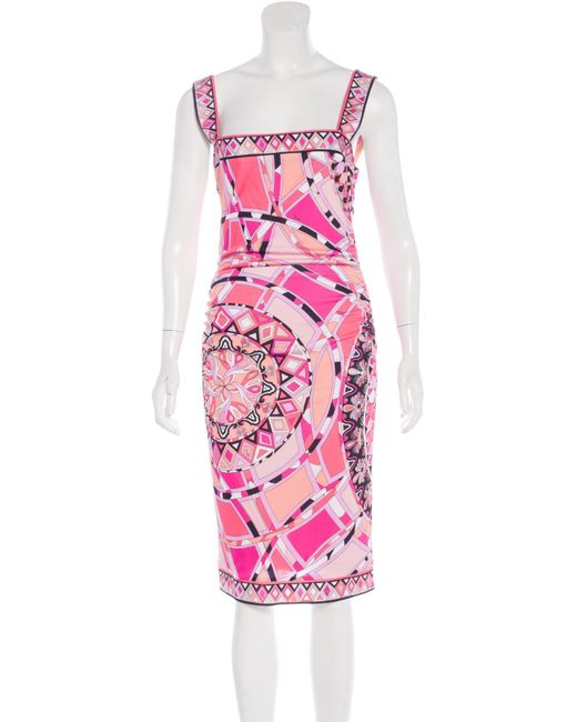 Emilio Pucci | Pink Sleeveless Ornate Print Dress W/ Tags | Lyst