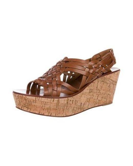 b0d1c673baf7d ... Tory Burch - Brown Leather Platform Sandals - Lyst ...