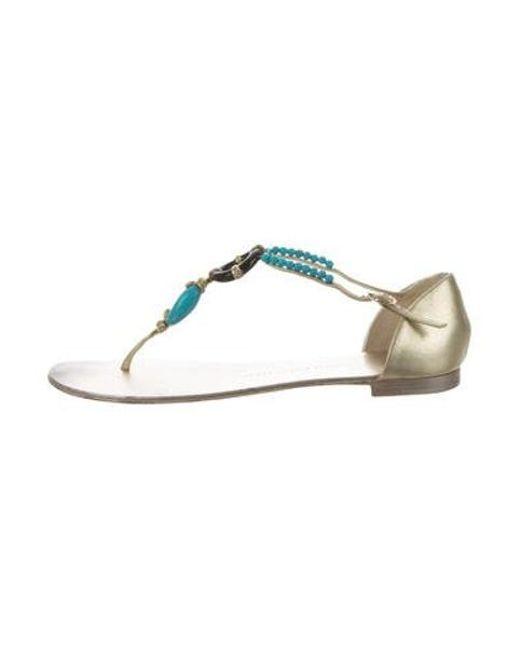 38652ec00729 Giuseppe Zanotti - Metallic Embellished Sandals Gold - Lyst ...