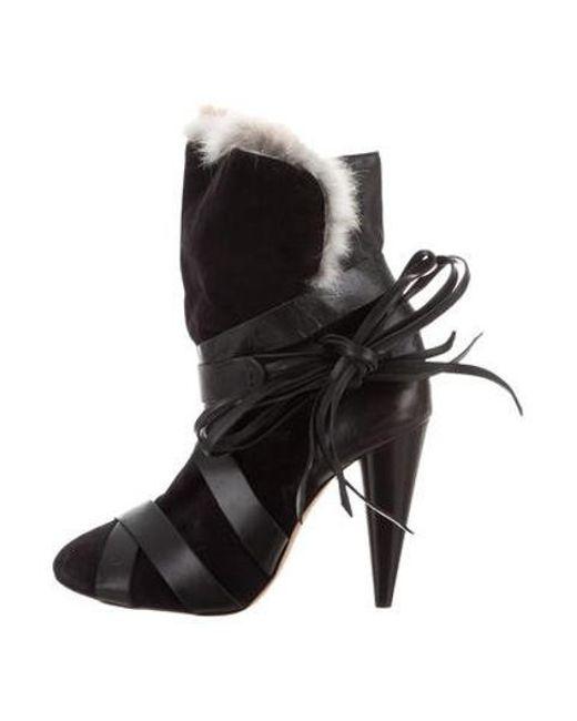 d32596c7018 Isabel Marant - Black Fur-trimmed Multistrap Booties - Lyst ...