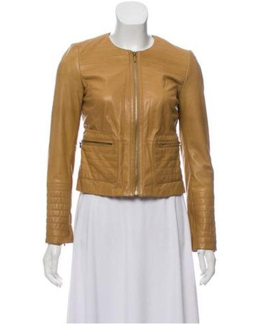 Tory Burch - Brown Leather Moto Jacket - Lyst