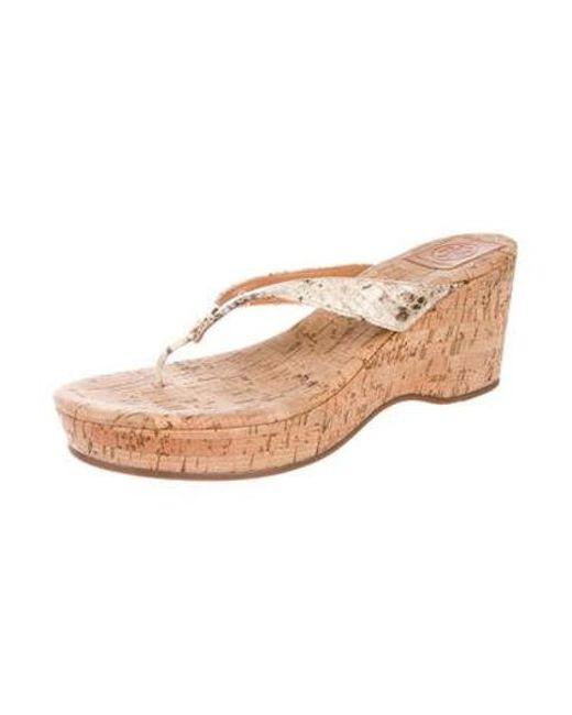 8c3562af2 ... Tory Burch - Metallic Wedge Slide Sandals Tan - Lyst ...