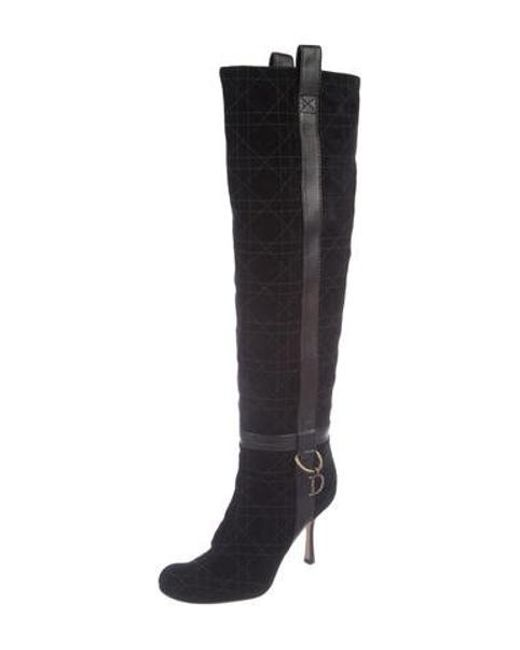 b8c9c480546 ... Dior - Metallic Quilted Knee-high Boots Black - Lyst ...