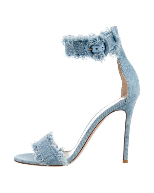 footlocker pictures cheap price reliable online Gianvito Rossi Raw-Edge Denim Sandals buy cheap wholesale price free shipping original DpTwit
