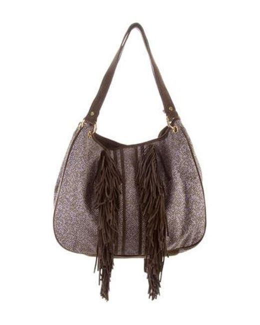5281442e7bbc ... Tory Burch - Metallic Suede-accented Shoulder Bag Brown - Lyst