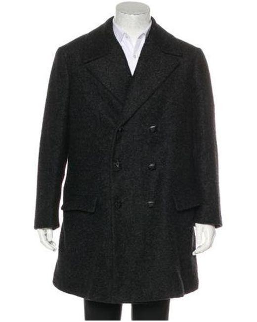 22bfd0f4ddf4 Bottega Veneta - Black Wool   Alpaca Double-breasted Coat for Men - Lyst ...