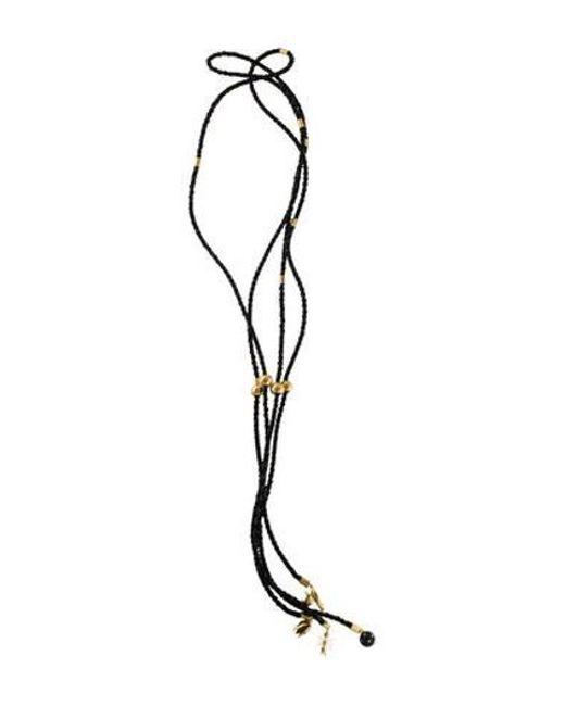 Colette Malouf - Metallic Lamu Charm Bolo Necklace Gold - Lyst