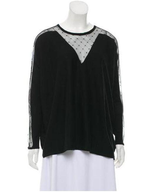 896e66e247 Maje - Black Scoop Neck Lace Sweatshirt - Lyst ...
