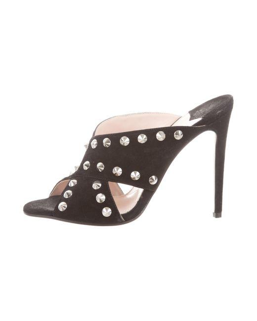 Miu Miu - Metallic Miu Suede Studded Sandals Black - Lyst