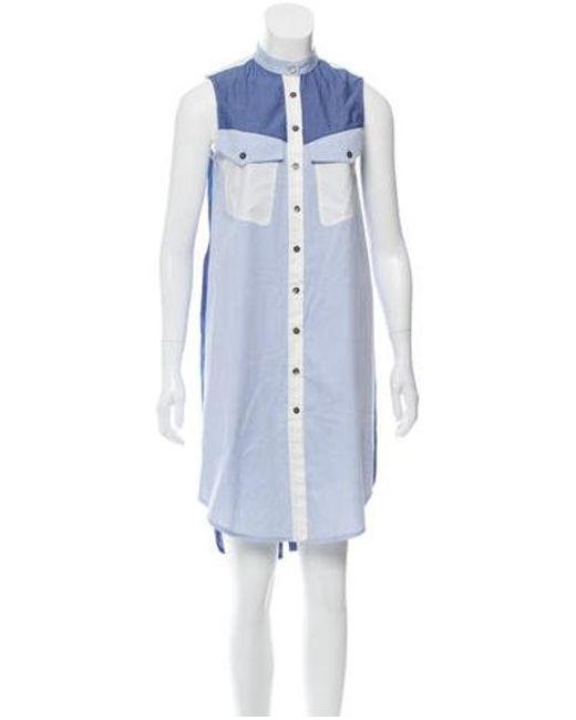 e8f5dc88d3e591 10 Crosby Derek Lam - Blue Pinstripe Sleeveless Shirtdress Navy - Lyst ...