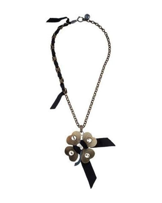 Lyst lanvin clover pendant necklace gold in metallic lanvin metallic clover pendant necklace gold lyst aloadofball Image collections