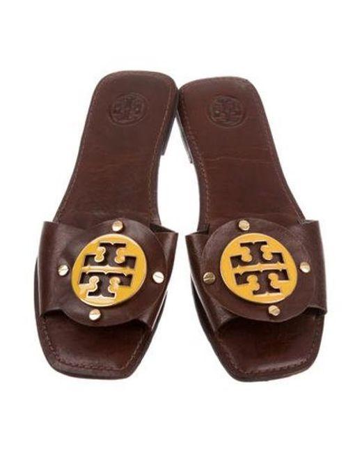5321228437339 ... Tory Burch - Brown Gaby Logo Slide Sandals - Lyst ...