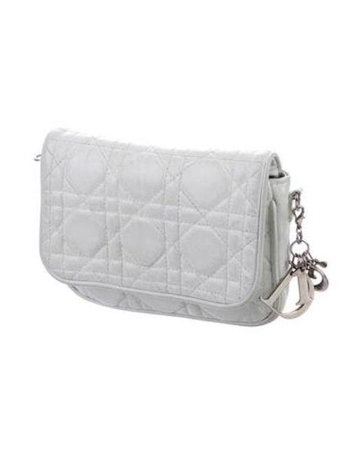 7946b29a4e0b ... Dior - Metallic Leather Cannage Pouch White - Lyst ...