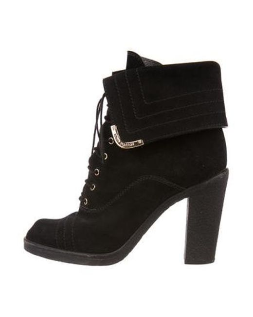 84aa41c9db31 Louis Vuitton - Metallic Suede Ankle Boots Black - Lyst ...