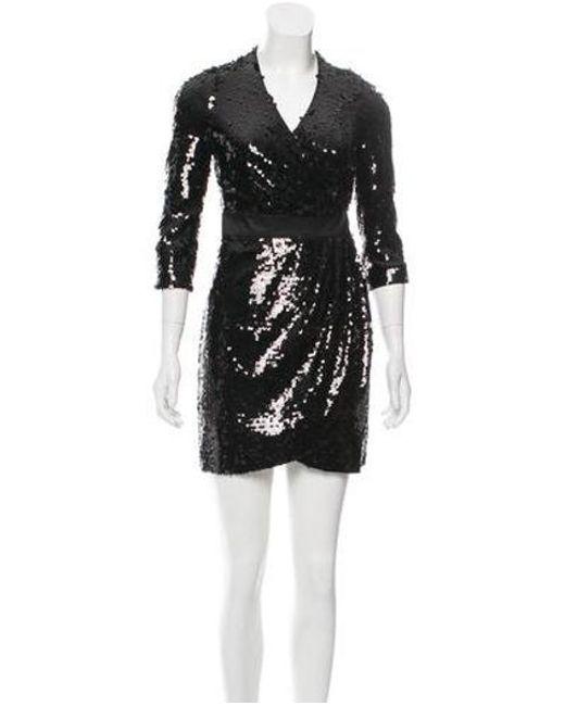 f507a8ef8d07 Rachel Zoe - Black Sequined Mini Dress - Lyst ...