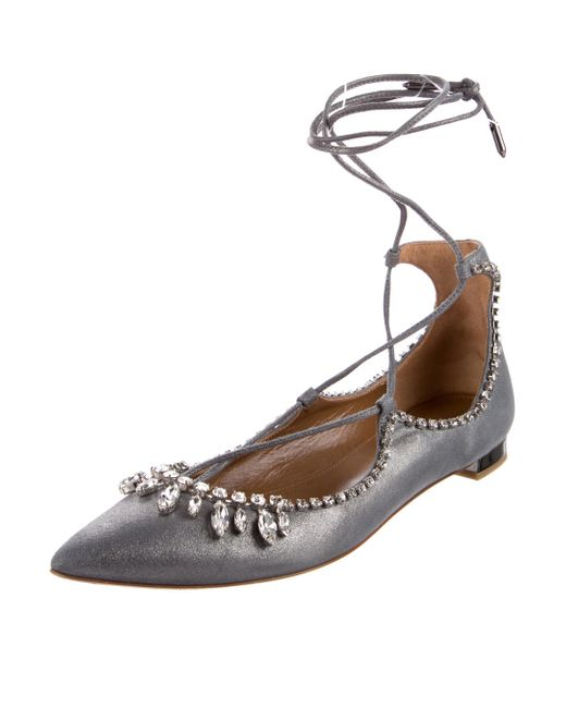 Aquazzura Christy Crystal-Trimmed Flats for nice sale online latest collections for sale fast delivery cheap price lN1DPgAEBn