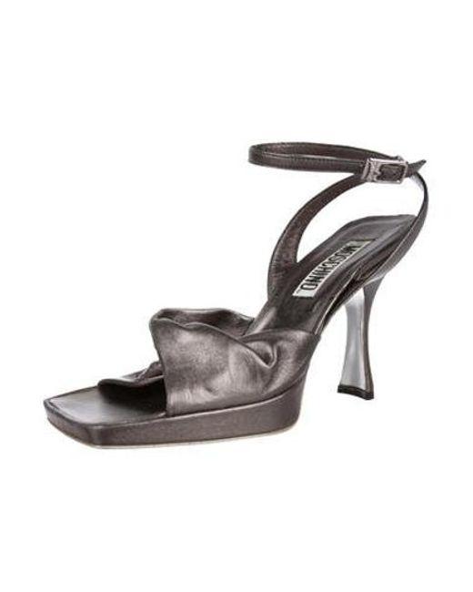 e9e44cc19f72dd ... Moschino - Metallic Ankle Strap Sandals Silver - Lyst ...