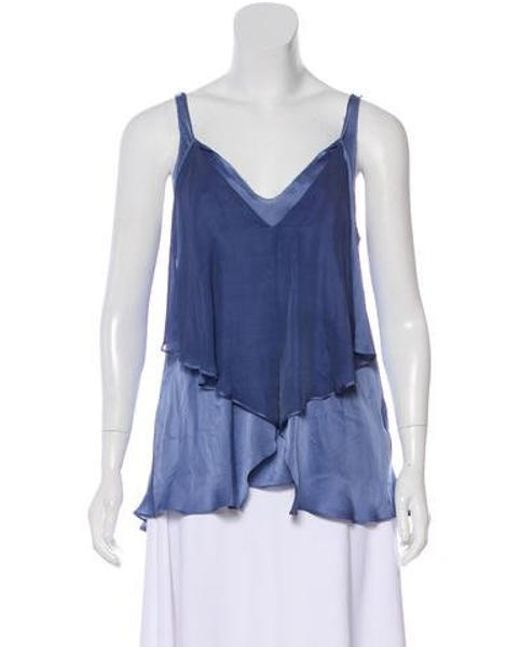 89ccfde2fcb2d Diane von Furstenberg - Blue Layered Silk Top - Lyst ...