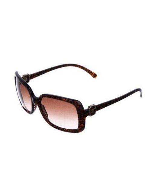76de0cb8afb ... Chanel - Metallic Cc Square Sunglasses Brown - Lyst ...