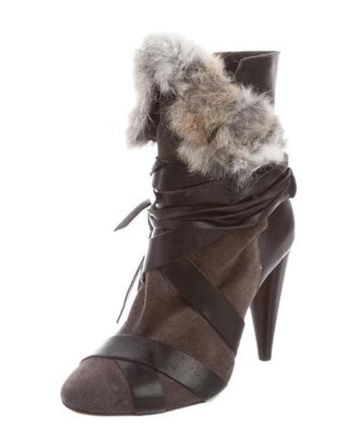 274f9fdc504 ... Isabel Marant - Gray Fur-trimmed Multistrap Booties Grey - Lyst ...