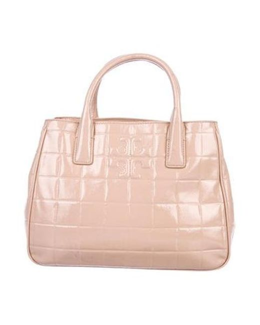 a67c0a7a037b Tory Burch - Metallic Marion Quilted Patent Leather Tote Pink - Lyst ...