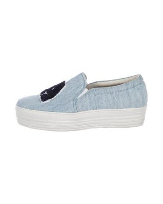 b6f71ea0ed65 Joshua Sanders - Blue Denim Platform Sneakers - Lyst ...