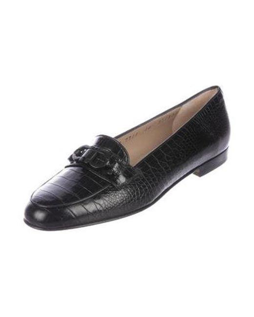 a4c912974e5 ... Ferragamo - Black Embossed Gancini Loafers - Lyst ...