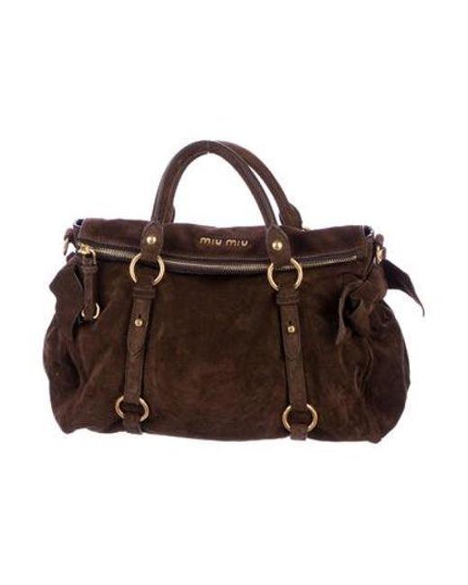 1519665d1c9 Miu Miu - Metallic Miu Suede Fold-over Bag Gold - Lyst ...