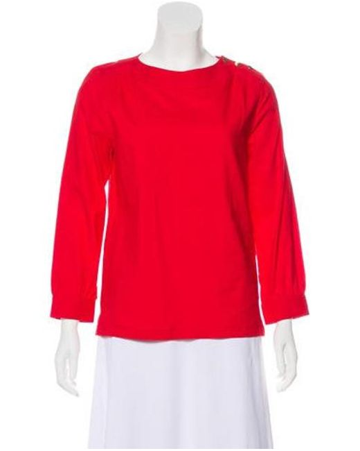8b96bad79a3150 A.P.C. - Red Long Sleeve Crew Neck Top - Lyst ...
