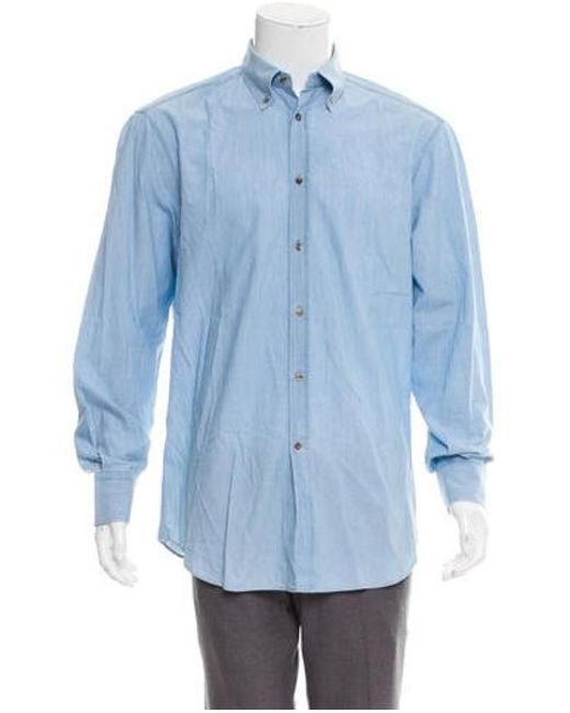 d1af7ce63 Brunello Cucinelli - Blue Woven Button-up Shirt for Men - Lyst ...