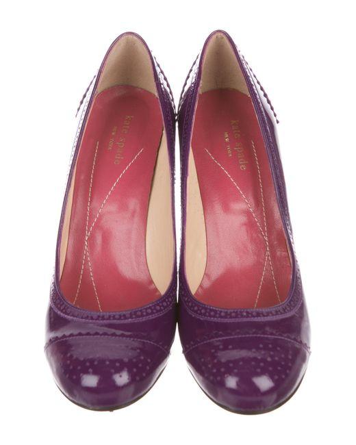 b592a83ec5b3 ... Kate Spade - Purple Patent Leather Brogue Pumps - Lyst ...